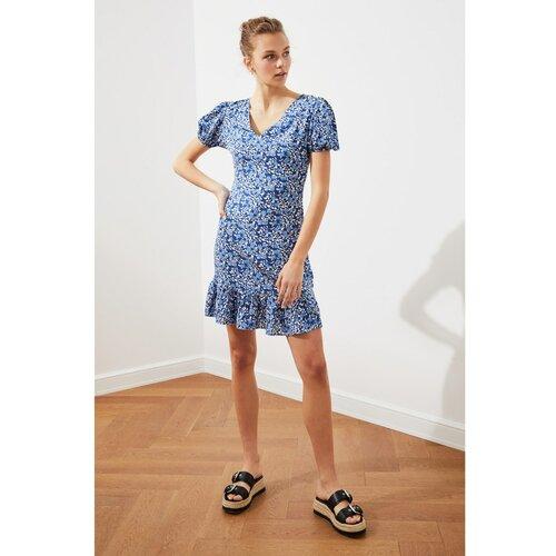 Trendyol Tamnoplava cvjetna haljina sa ovratnikom Fawn | bela | lagani plovak  Cene