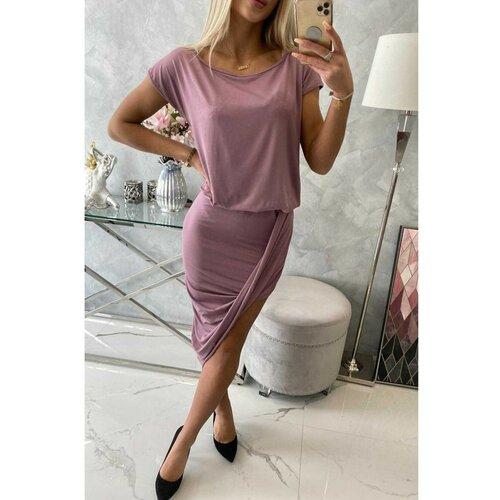 Kesi Asimetrična haljina tamno roza bijela | pink  Cene