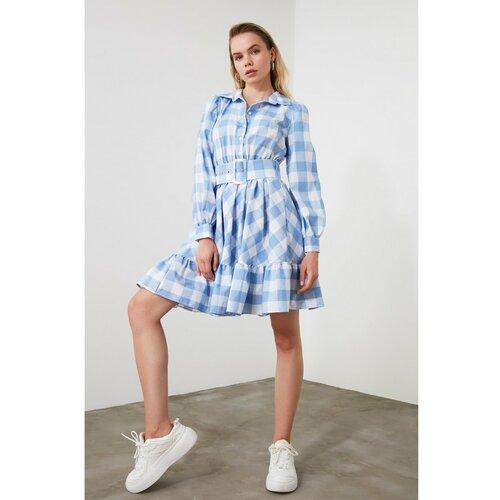 Trendyol Ženska haljina karirana plava siva | svijetlo plavo  Cene