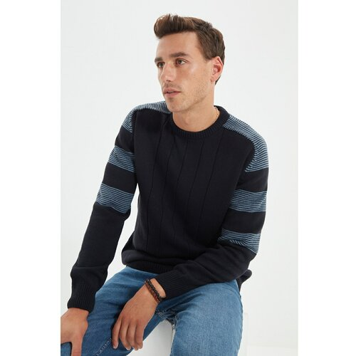 Trendyol Tamnoplavi muški pleteni džemper s običnim vratom za muškarce Slike