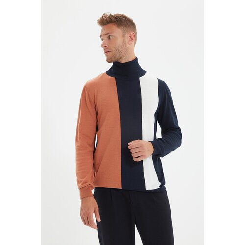 Trendyol Tamnoplavi muški pulover u boji sa tankim rukavom u boji  Cene