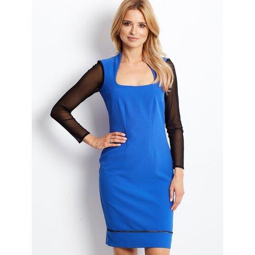 Fashionhunters Ženska plava haljina sa mrežastim rukavima  Cene