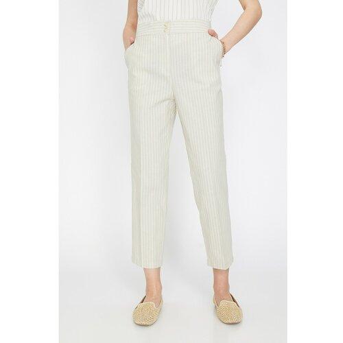 Koton Ženske pantalone s ecru prugom  Cene