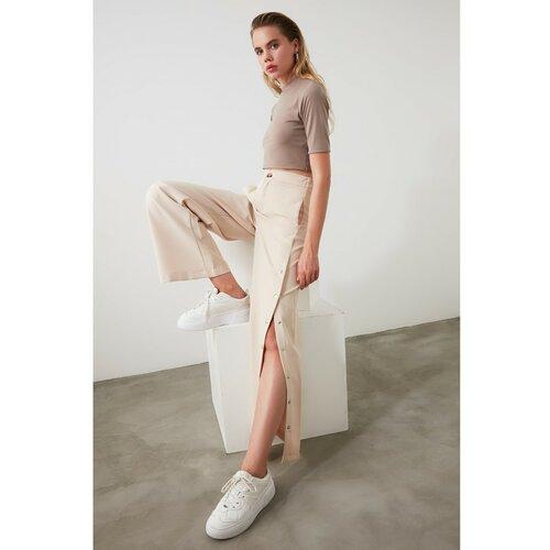 Trendyol Ženske hlače Dugmad detaljna krema smeđa   bijela  Cene