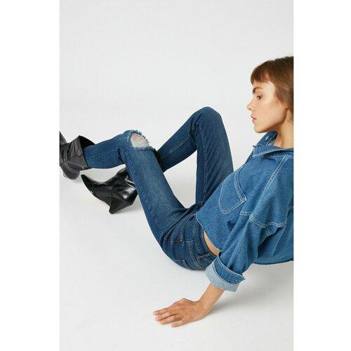 Koton Ženske tamne indigo traperice plave siva  Cene