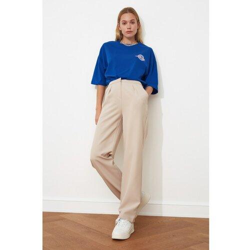 Trendyol Ženske hlače Flat Cut modre boje krema  Cene