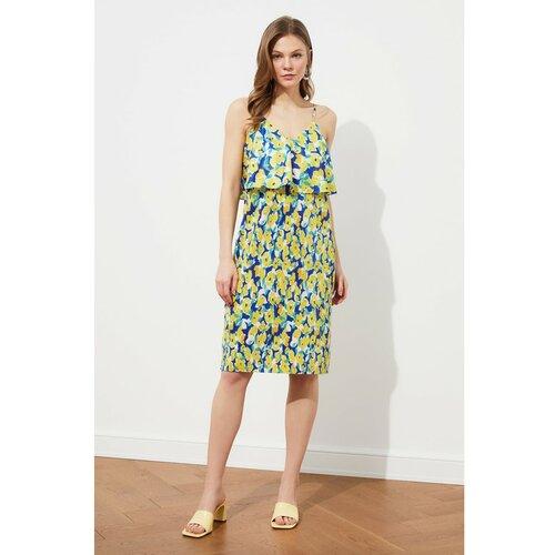 Trendyol Tamnoplava pletena haljina s uzorkom od plisiranog uzorka plava | siva | kaki | žuta  Cene