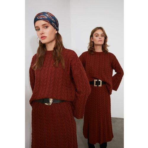 Trendyol Pleteni pleteni kostim s cimetom za kosu pletenica odozdo bela | tamnocrvena  Cene