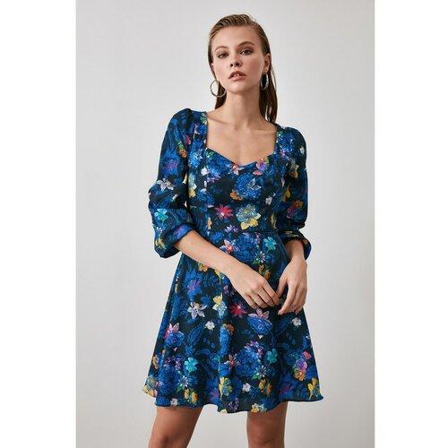 Trendyol Ženska haljina s cvjetnim uzorkom crna plava | svijetlo plavo  Cene