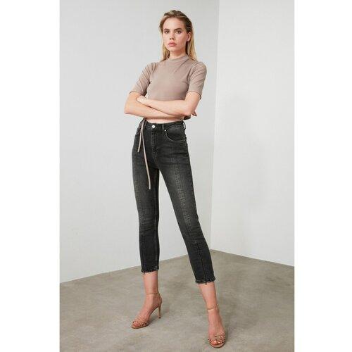 Trendyol Crne čarape Slim Fit traperice sa sivim crnim patentnim zatvaračem na nogama krema  Cene