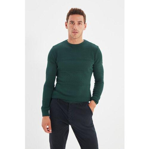 Trendyol Tamnozeleni džemper s tankim krojem za muškarce s tankim izrezom  Cene