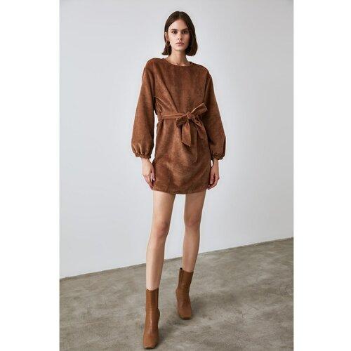 Trendyol smeđa BeltEd supozitorija haljina od baršuna  Cene