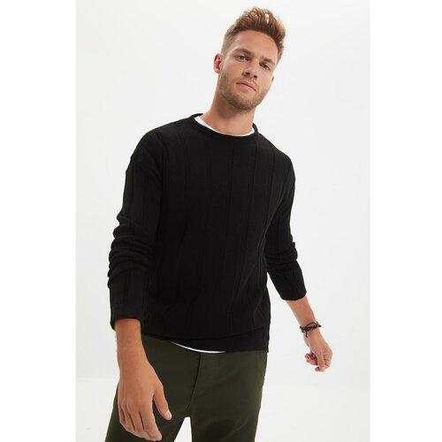 Trendyol Crni muški pleteni džemper sa gumom i vratom  Cene