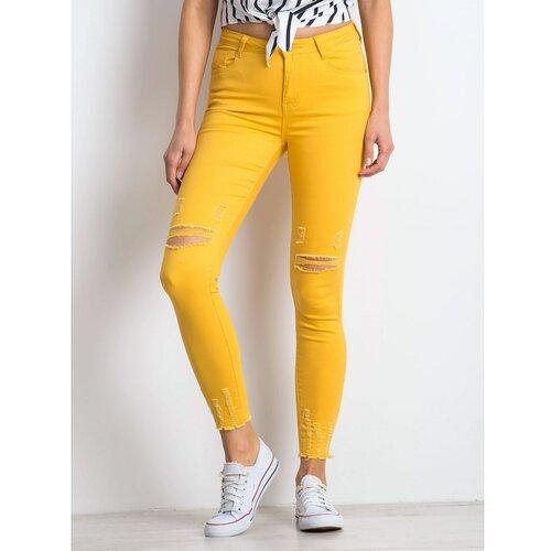 Fashionhunters Tamno žute abrazivne traperice  Cene