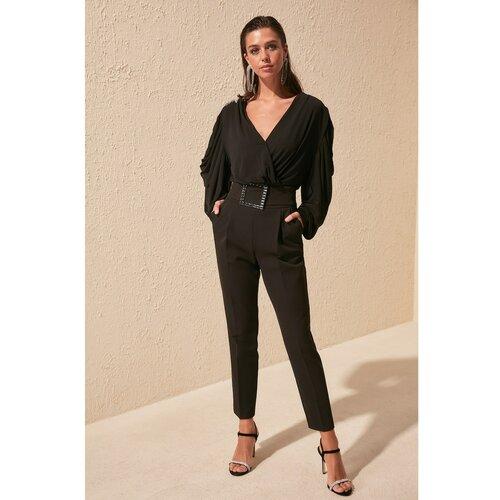 Trendyol Pantalone od crnog kamena sa crnim pojasom bijela  Cene