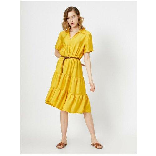 Koton Žena Žuti pojas sa detaljem Midi haljina s kratkim rukavima i kratkim rukavima bela   žuta  Cene
