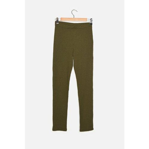 Trendyol Pletene hlače s rebrastim nogama iz Khaki Straighta  Cene