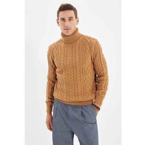 Trendyol Camel Men Slim Fit Turtleneck Hair Pleteni pleteni džemper  Cene