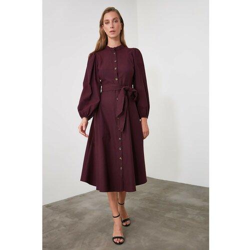 Trendyol Ženska haljina s pojasom crna crveno crveno  Cene