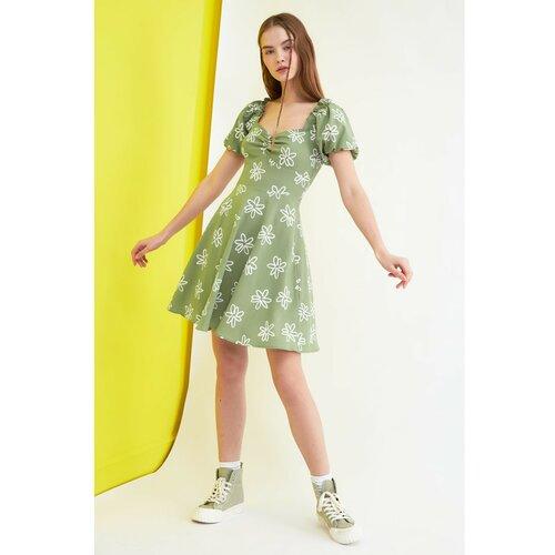 Trendyol Haljina sa rukavima od balona sa zelenim uzorkom bela | kaki | krem  Cene