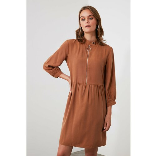 Trendyol Camel Zipper Detaljna haljina braon  Cene