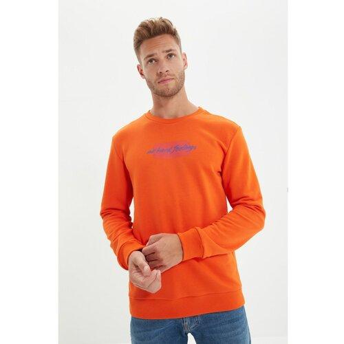 Trendyol Narančasta muška dukserica s tankim stilom sa sloganom  Cene