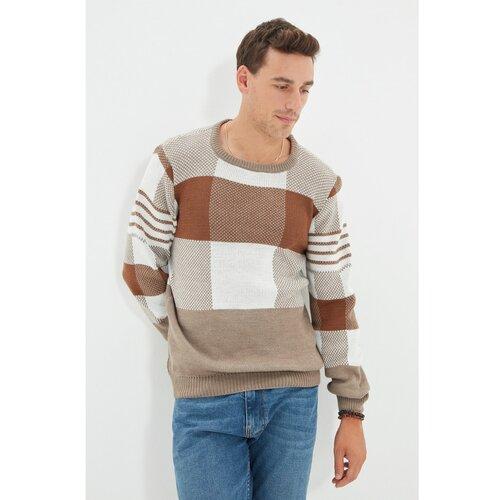 Trendyol Bež muški pleteni pleteni džemper s tankim otvorom s izrezom s otvorom za ekipu  Cene