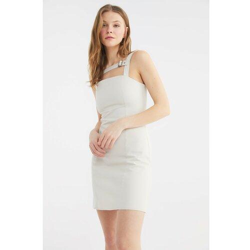 Trendyol Detaljna haljina od kamenog ovratnika siva  Cene