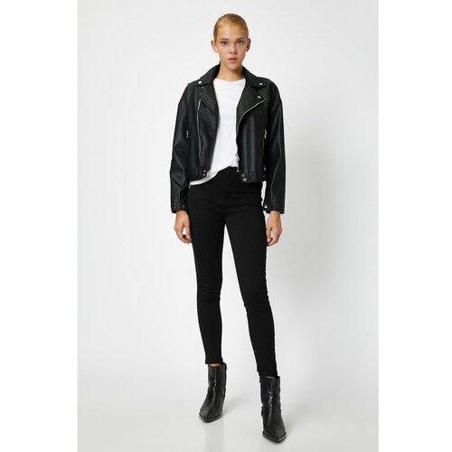 Koton Ženske crne pantalone crne boje bijela  Cene