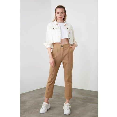 Trendyol Ženske pantalone Classic braon | krem  Cene