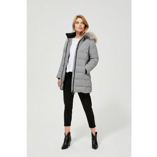 Moodo bijelo-crni zimski kaput sa kapuljačom crna   siva  Cene