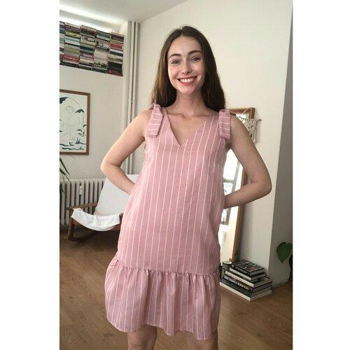 Trendyol Ružičasta prugasta haljina Detaljna haljina Smeđa | pink  Cene