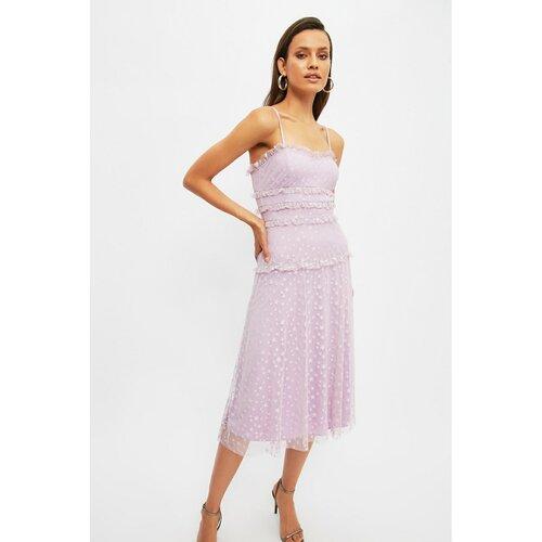 Trendyol Lilac Ruffle Detaljna haljina siva  Cene