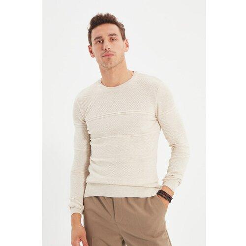 Trendyol Ecru muški džemper s tankim krojem za muškarce s tankim izrezom  Cene
