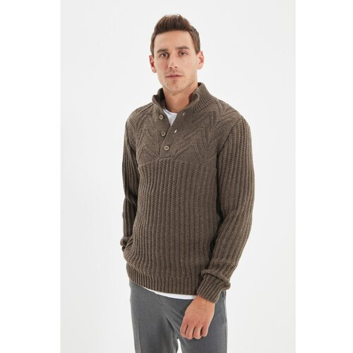 Trendyol Mink muški pleteni džemper s dugim kopčanjem na pola ribara  Cene