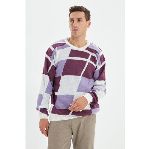 Trendyol Ljubičasti muški ležerni džemper s ogrlicom za muškarce u boji  Cene