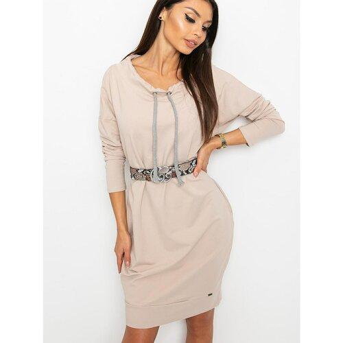 Fashionhunters Bež duks haljina smeđa | krema  Cene