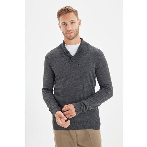 Trendyol Antracitni šal ovratnik za muškarce, tanki pleteni džemper  Cene