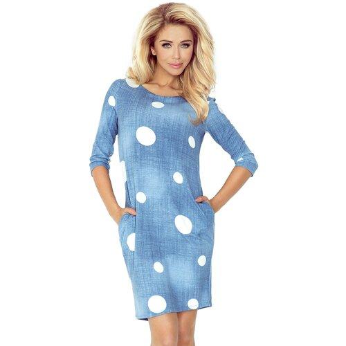 NUMOCO Ženska haljina 40 bijela svijetlo plavo  Cene