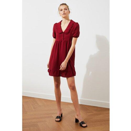 Trendyol Burgundija ovratnik detaljna haljina  Cene