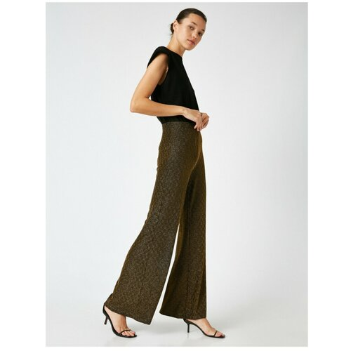 Koton Široke pantalone sa šljokicama braon   krem  Cene