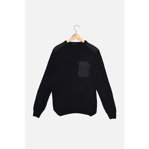 Trendyol Tamnoplavi muški pleteni džemper s tankim krojem s grlom za vrat  Cene