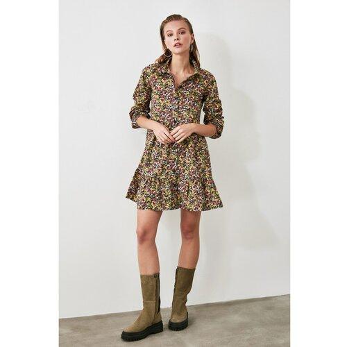 Trendyol Višebojna haljina s košuljom s cvjetnim uzorkom smeđa | krema | crveno crveno  Cene