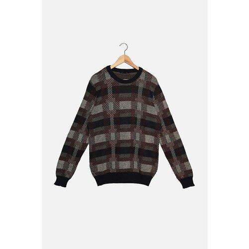 Trendyol Tamnoplavi muški pleteni džemper od žakarda s tankim krojem i žakardovim izrezom  Cene