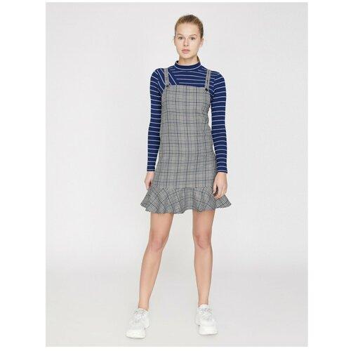 Koton Karirana haljina Plava siva  Cene