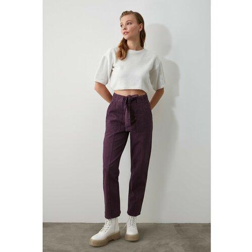 Trendyol Purple BeltEd šav sa detaljima Mom Jeans s visokim strukom siva   braon  Cene