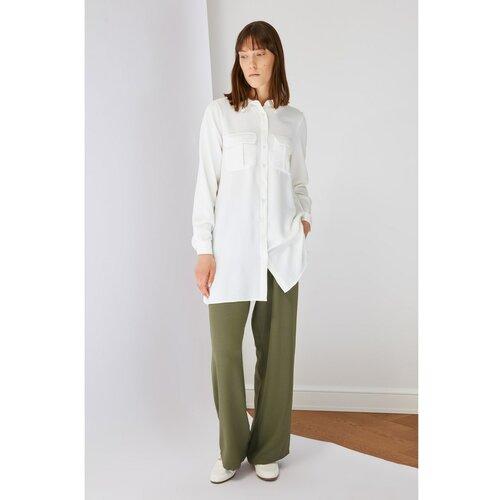 Trendyol Khaki osnovne hlače sa širokim nogama Slike