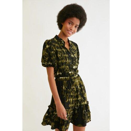 Trendyol Višebojna haljina s volanima i rukavima crna | kaki  Cene