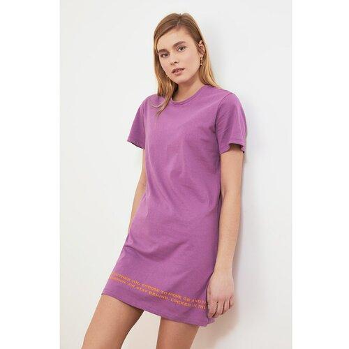 Trendyol Ljubičasta pletena haljina s printom Fuchsia  Cene