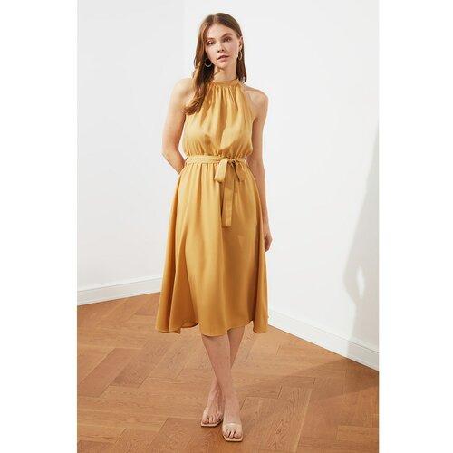 Trendyol Ženska midi smeđa haljina krema | senf  Cene